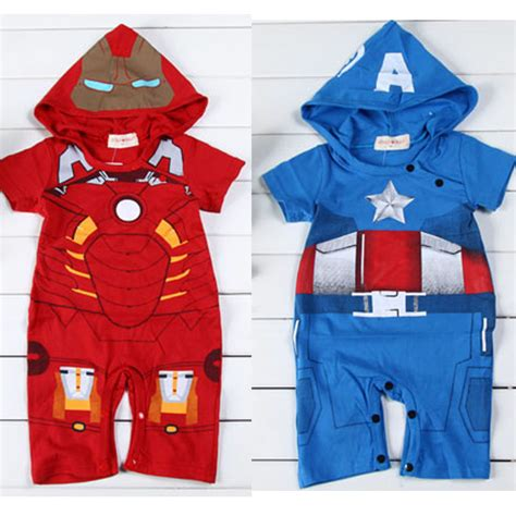 Romper Hoodie Captain America 1 costumes summer cotton babys one clothing jumpsuit