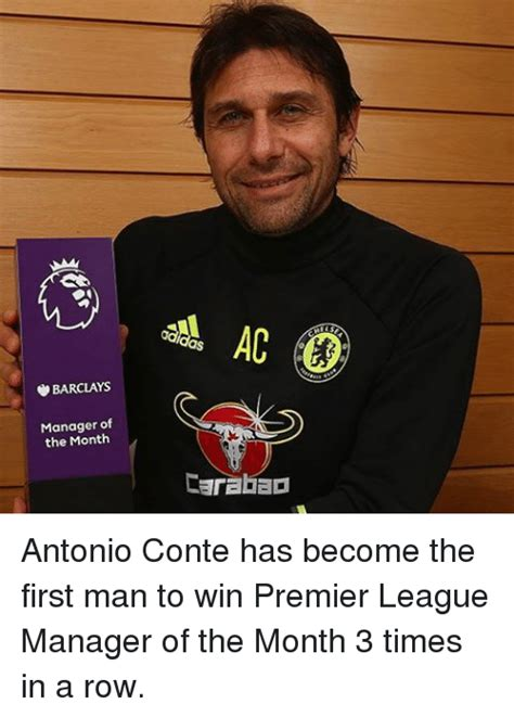 epl manager of the month barclays manager of the month carabao antonio conte has