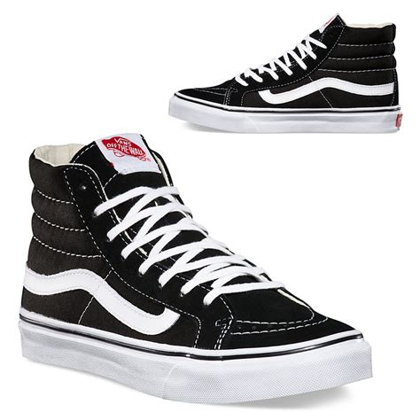 vans sk8 hi slim black white skool classics skate shoe