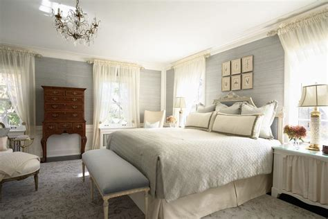 grey room wallpaper a charming bedroom with grey wallpaper idea and lavish white bedding also teakwood cabinet