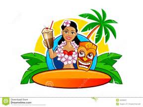 Tiki Hut Bar And Grill Hawaii Hula And Surfing Clipart