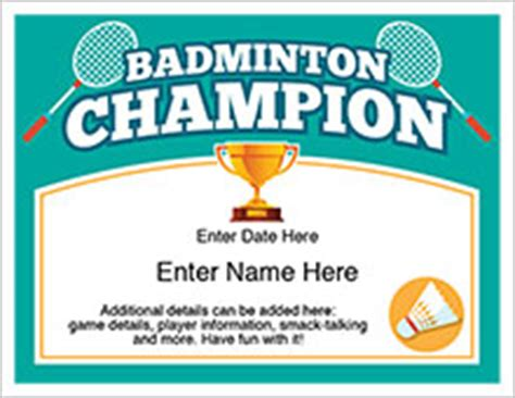 badminton certificate template chion certificates templates for ping pong darts golf