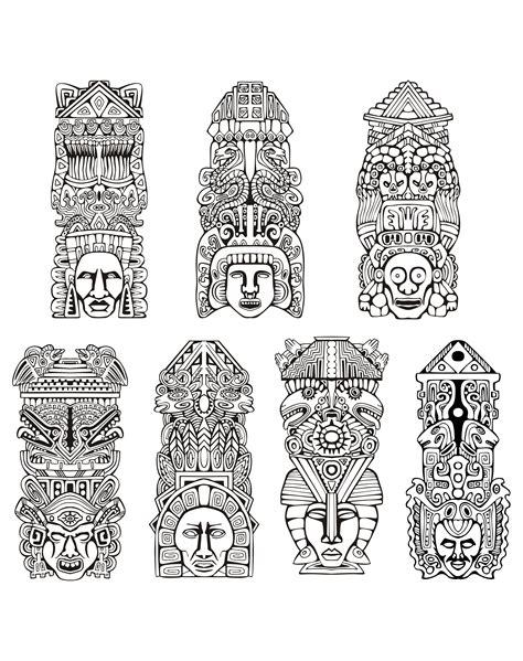 Calendrier Inca Coloriage Adulte Totems Inspiration Inca Azteque