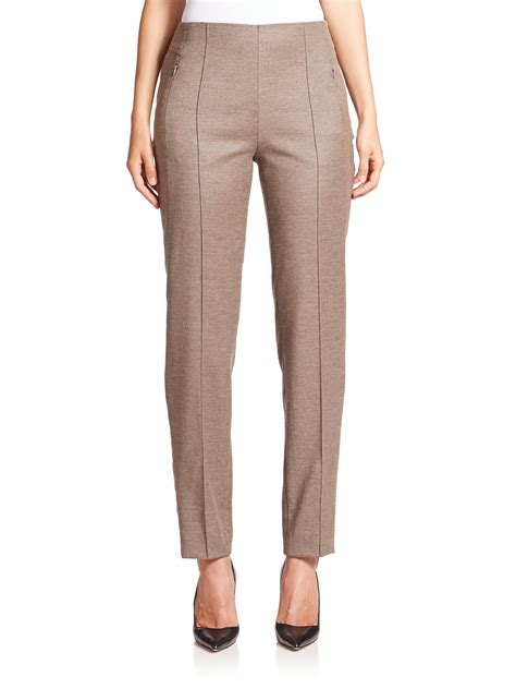 escada tuski stretch wool cashmere ankle pants in brown
