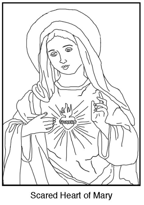 sacred heart coloring page free coloring page the immaculate heart of mary schola