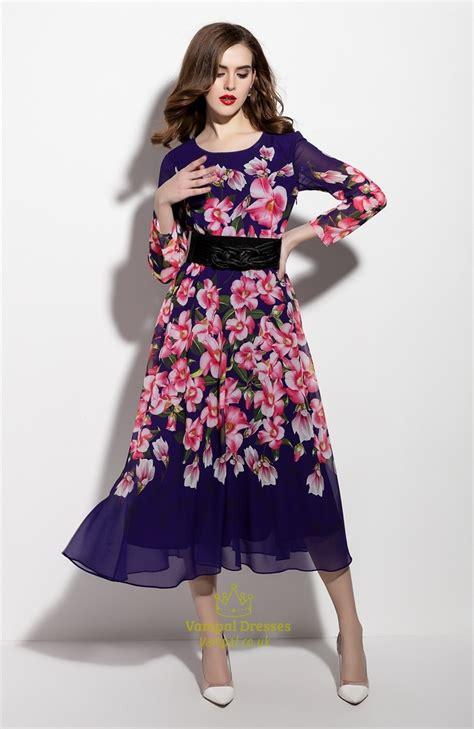 Sleeve Print Chiffon Dress purple floral print sleeve chiffon dress with belt