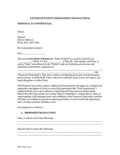 Letter Of Intent Sle To Purchase Business letter of intent template business 28 images business