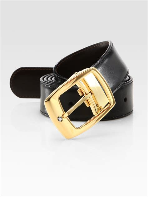 montblanc leather belt in black for lyst
