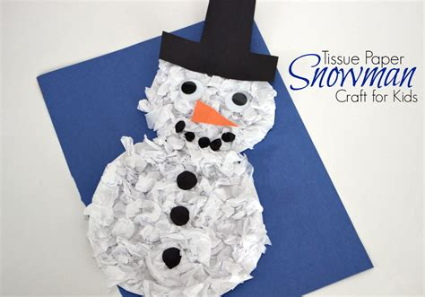 Paper Winter Crafts - diy tissue paper snowman craft for