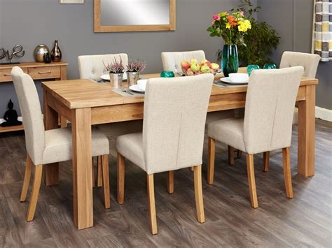 kitchen table with upholstered chairs baumhaus mobel oak extending dining set with 6 flare back