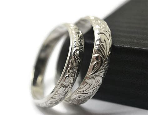 silver couples ring renaissance style wedding bands by