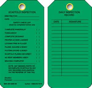 Scaffold Inspection Checklist Free Template by Scaffold Inspection Tag Green