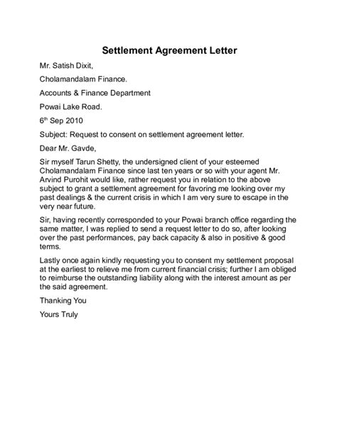 Settlement Agreement Letter Exle Settlement Agreement Letter Sle Free