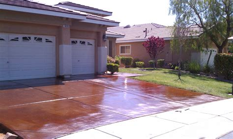 Final Stages Of The Concrete Acid Stain And Seal Process Landscape Rock Las Vegas