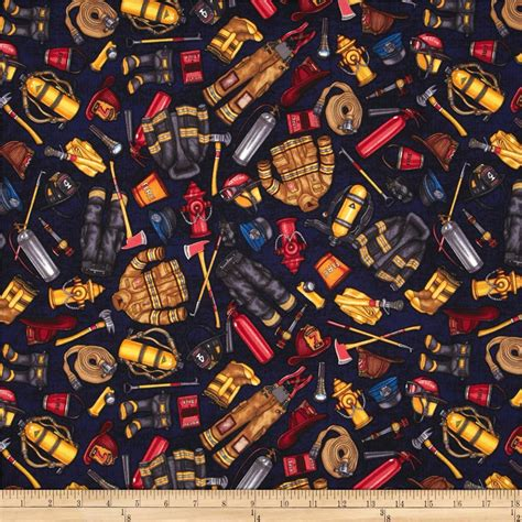 Fireman Quilt Fabric by Fireman Fabric Images