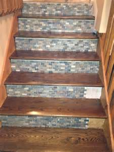Tile Stairs Ideas by Stone Backsplash Tile Used On Stair Risers Decor