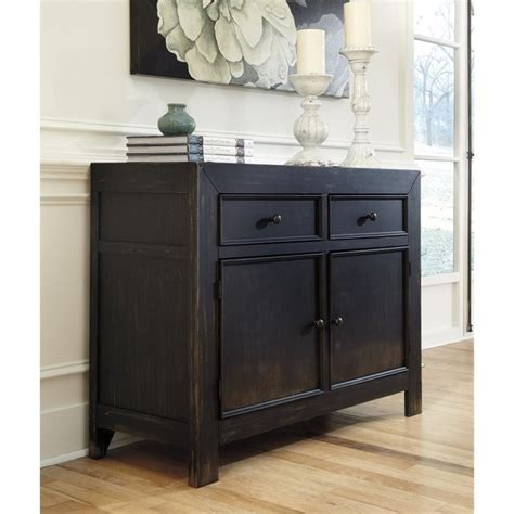 ashley gavelston accent cabinet chest  black