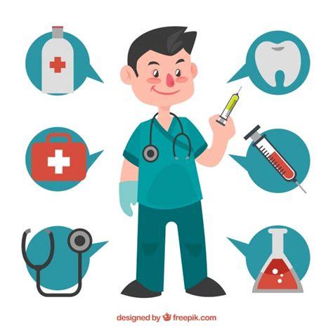 imagenes animadas de doctores cirujano con burbujas de conversaci 243 n y elementos m 233 dicos