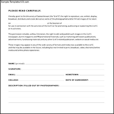 photography permission form template print release form sle templates