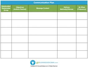 comms plan template communication plan template exle