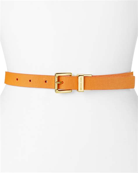 michael kors belt saffiano reversible leather in yellow