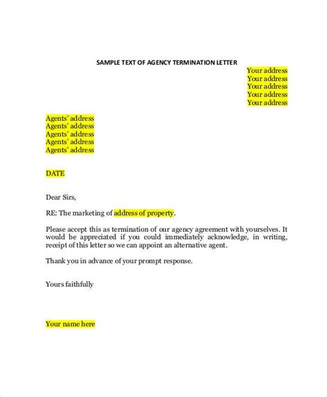 termination letter agency contract agreement letter exles