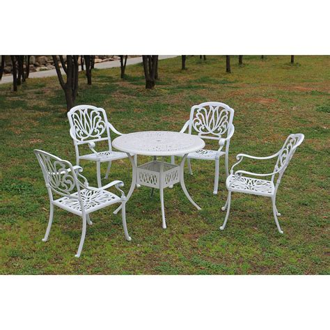 white patio dining set outsunny 5 cast aluminum outdoor antique patio