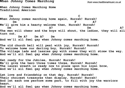 traditional song when johnny comes marching with chords