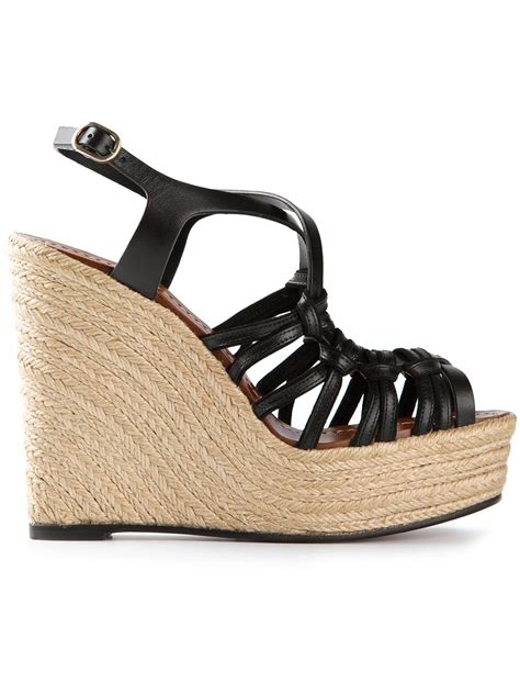 wedge strappy sandals valentino strappy wedge sandal in black lyst