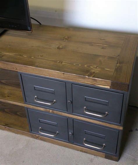 industriel meuble tv métal et bois tiroirs