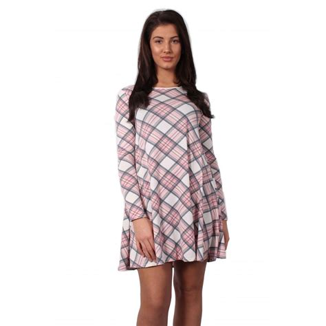 tartan swing dress pink pastel tartan check swing dress parisia fashion