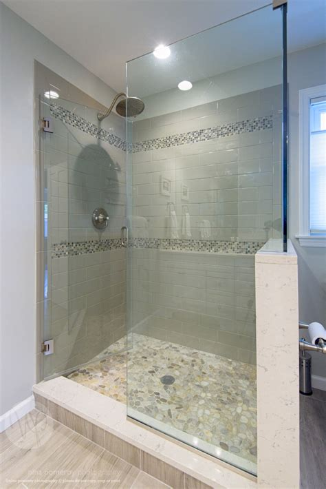 Pictures Of Tiled Showers And Bathrooms Glass Shower Stall River Rocks Frameless Glass Shower Tiled Shower Design Builders And