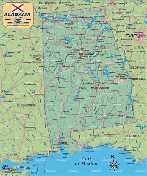 road map of alabama usa map of alabama united states of america usa map in