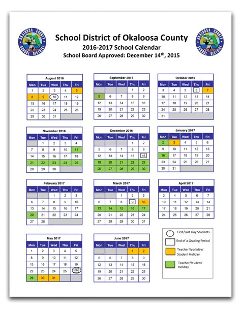 Bay County School Calendar Okaloosa County School Calendar 2017 My