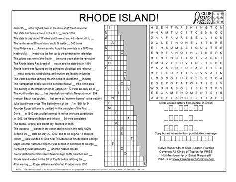 Rhode Island Search Rhode Island Clue Search Puzzles Combining Trivia Crosswords And Word Search