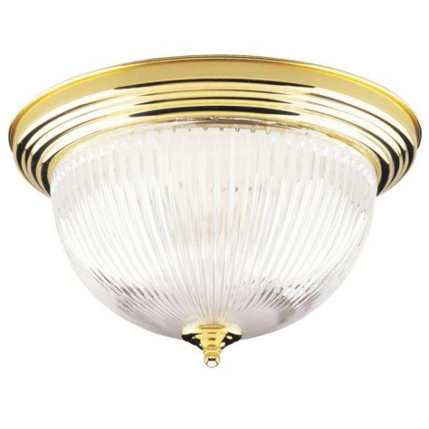 Brass Light Fixtures Ceiling Westinghouse 2 Light Ceiling Fixture Polished Brass Interior Flush Mount With Ribbed