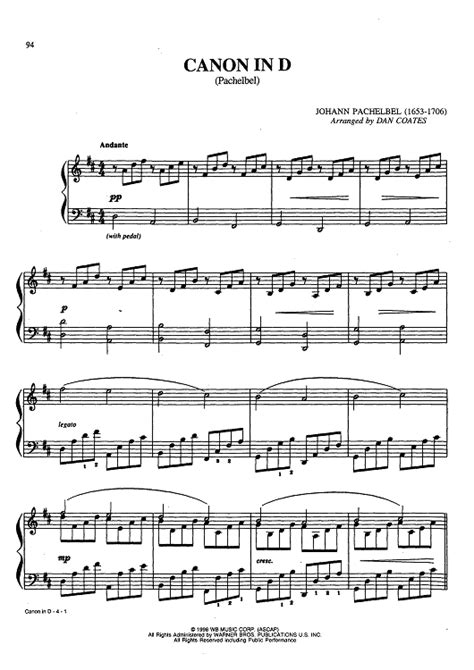 canon in d pachelbel sheet music for piano and more
