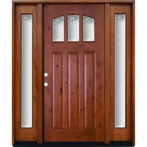 Wood Entry Doors With Glass Steves Sons 68 In X 80 In Craftsman 3 Lite Arch Stained Knotty Alder Wood Prehung Front Door
