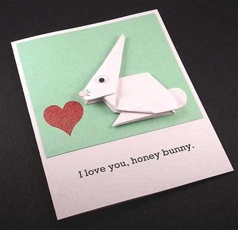 Origami Valentines Card - origami bunny card paper folding inspiration