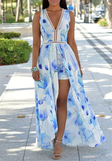 light blue floral romper rompers with chiffon fashion dresses