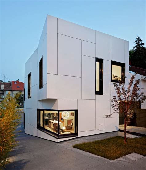 box shaped house design with exterior wall white