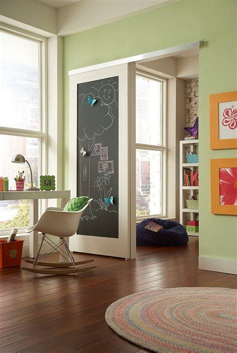Chalkboard Sliding Closet Doors 27 Creative Rooms With Space Savvy Sliding Barn Doors