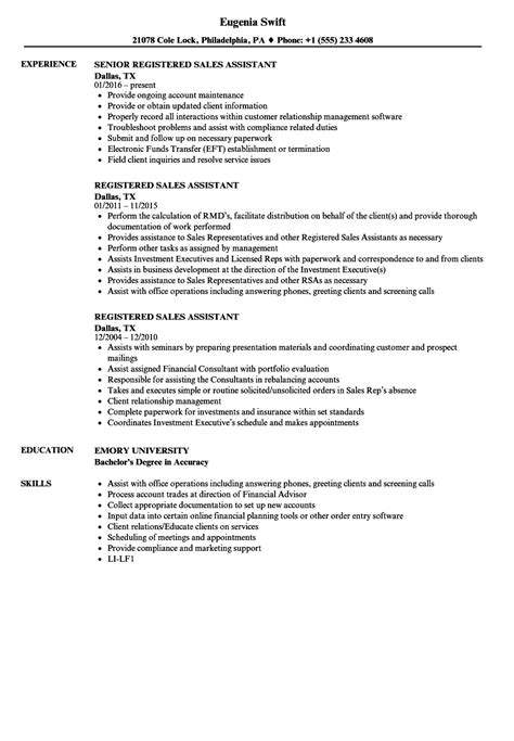 Sles Of Assistant Resumes by Registered Sales Assistant Resume Sles Velvet