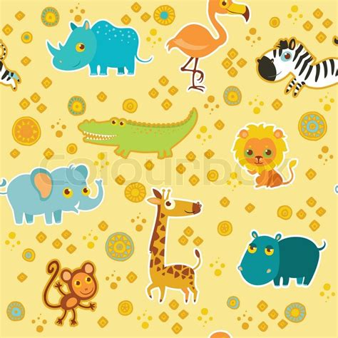 seamless animal pattern vector african cartoon animal vector seamless pattern stock