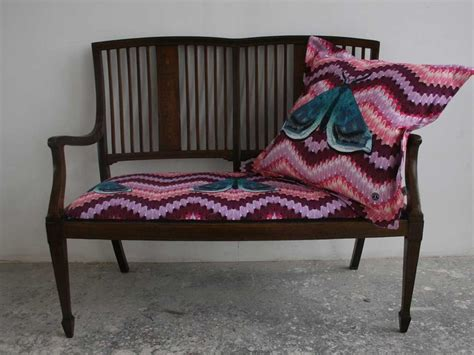 kendal upholstery bench upholstered in zig zag moth fabric and zig zag moth