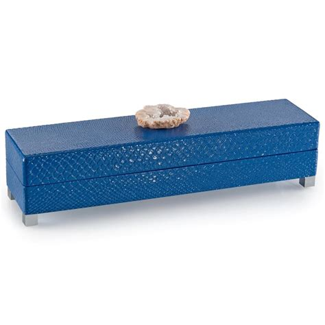 Geode Box | aliso coastal blue snake lacquer cream geode box 16 inch