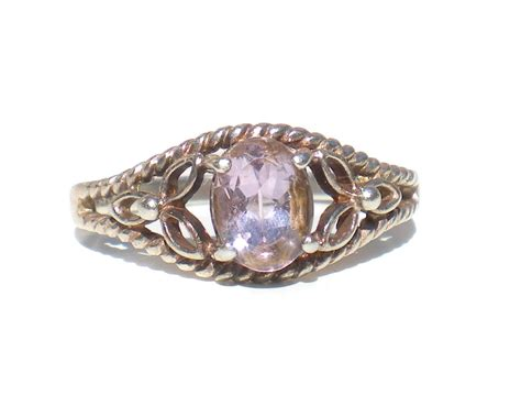 amethyst sterling silver ring size 7 rj by avon with flower