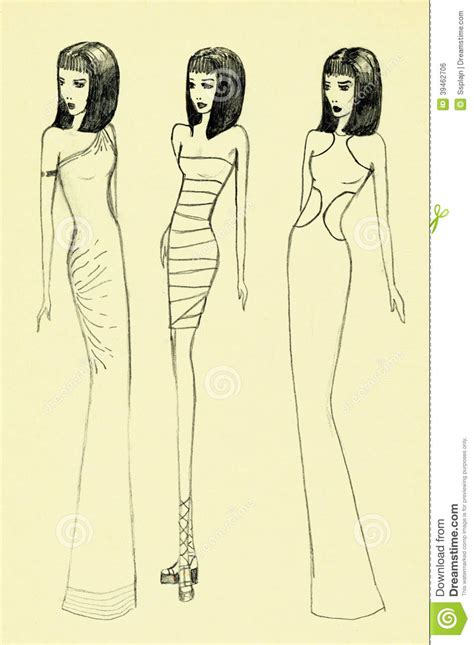 fashion illustration with colored pencils fashion illustration stock illustration