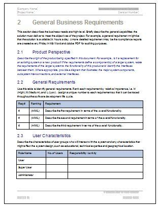 business requirements specification template business requirements business writing templates