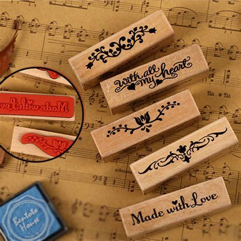 1 pcs vintage rubber st wooden children diy handmade